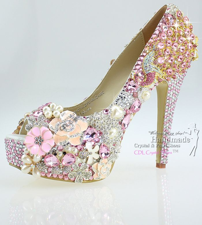 FREE SHIPPING High Quality Lace-up Open Toe design your own crystal pink wedding shoes $298.60