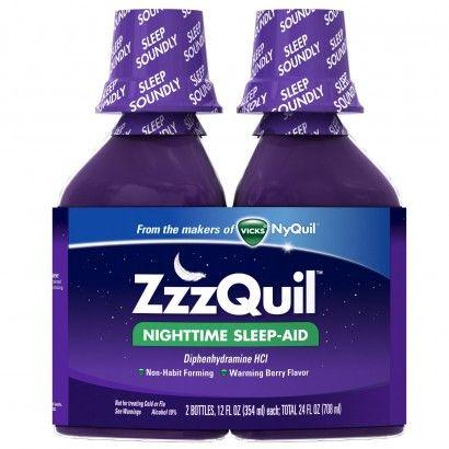 Photo of Vicks Nighttime Sleep-Aid, Warming Berry Flavor 2 - 12 fl oz (354 ml) bottles 24 fl oz (708 ml)