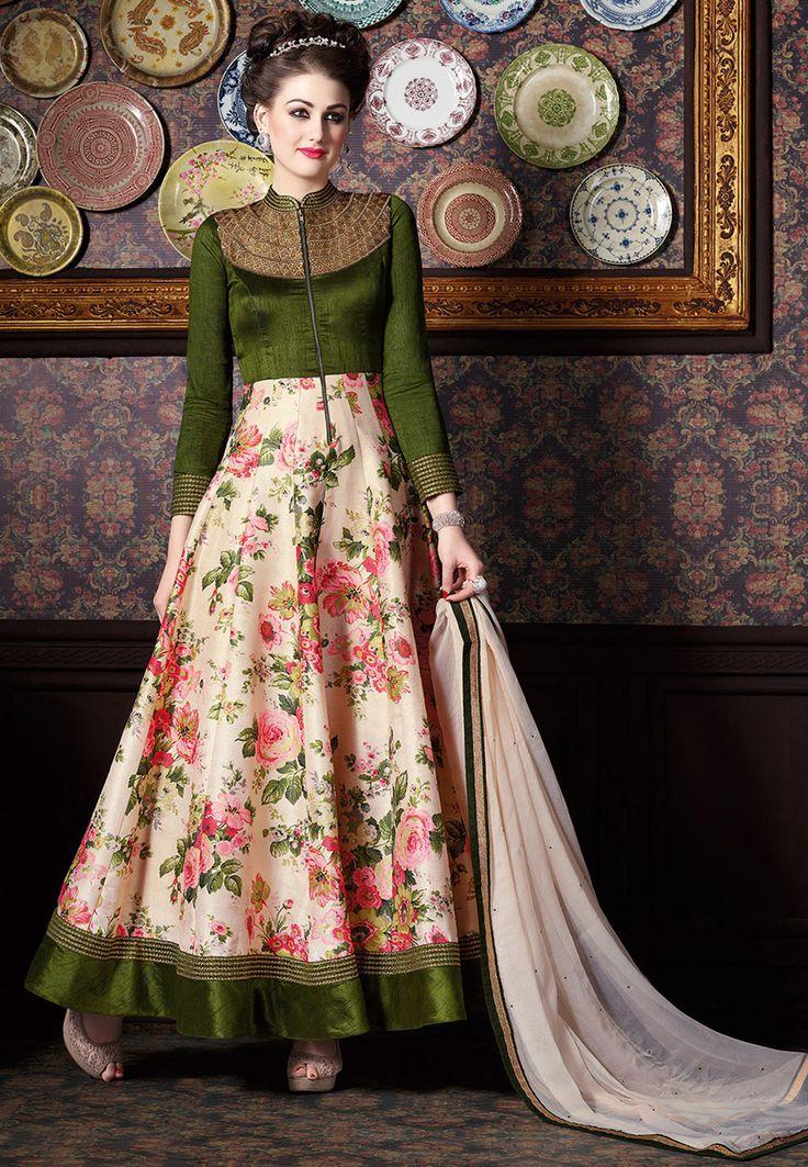 Buy Front Slit Art Silk Abaya Style Suit in Peach and Green online, work: Embroidered, color: Dark Green / Peach, usage: Party, category: Salwar Kameez, fabric: Art Silk, price: $107.63, item code: KUF8867, gender: women, brand: Utsav