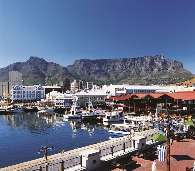 Victoria Alfred Waterfront with Table Mountain background