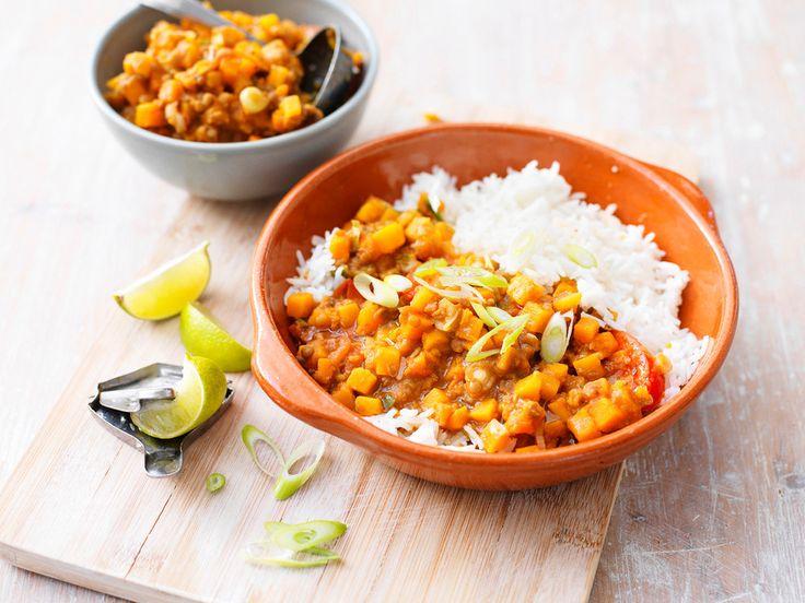 Recept: Harissa-pompoencurry met linzen en geurige rijst