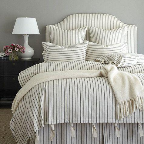 Ticking Stripe Duvet - Navy | Ballard Designs