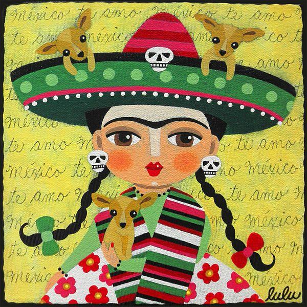 Frida Kahlo with Sombrero and Chihuahuas by Lulu via Fine Art America
