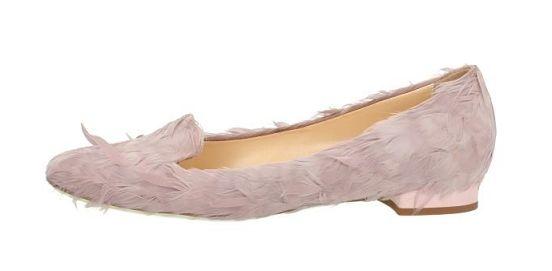 giannico ballerina con piume rosa odette flat