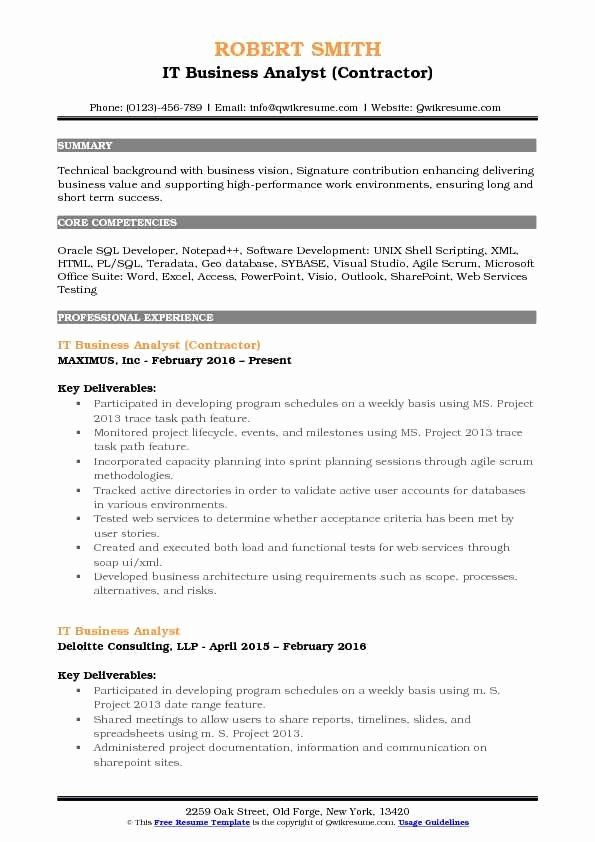 Business Analyst Roles And Responsibilities Resume Unique It Business Analyst Resume Samples