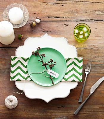 i like this... there is no excuse needed to set a pretty table IMHO. this is lovely (and it's GREEN) Green chevron table setting