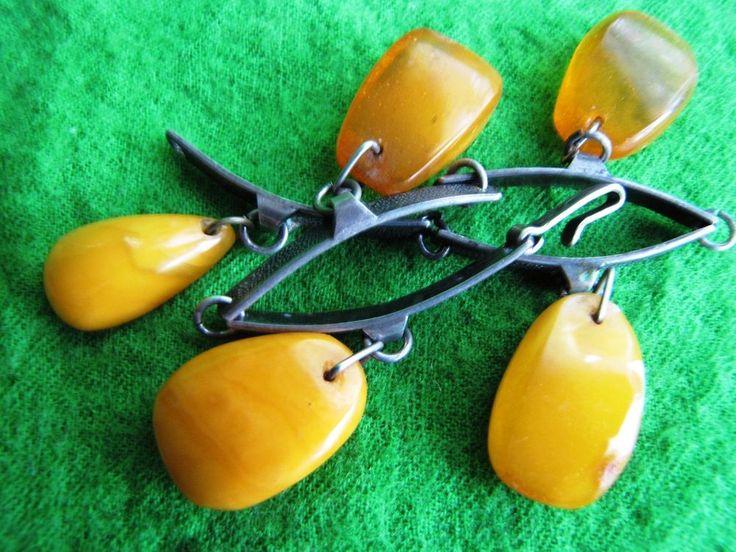 Russia 19 gr Baltic Amber Egg Yolk Bracelet Vintage Jewelry Silver 875 ЯК 老琥珀