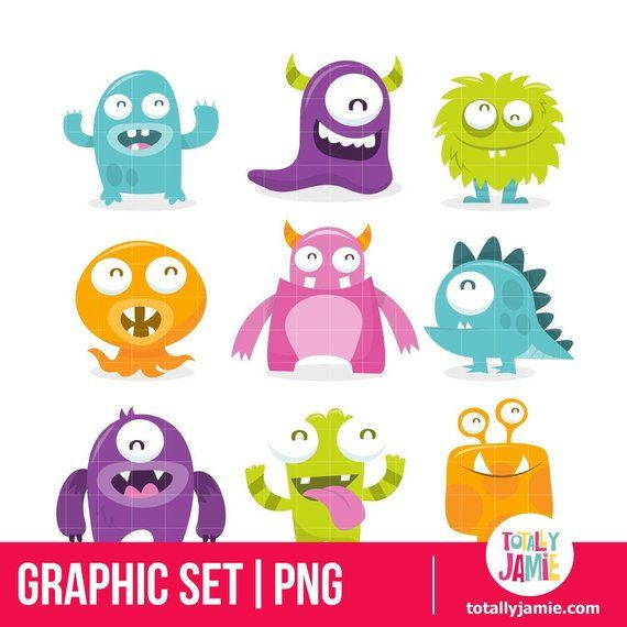 Little Monster Clip Art Little Monster Clipart Cute Etsy In 2020 Cute Monsters Cartoon Monsters Monster Clipart