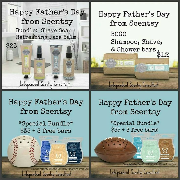 Celebrate and shower dad with Scentsy on his special day! Four Scentsy bundles featuring BOGO Groom products and sports warmers with FREE bars! Find me on Facebook, Tracy Todaro Independent Scentsy Consultant and shop at: https://tracytodaro.scentsy.us