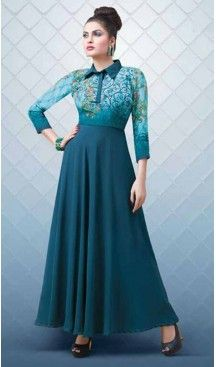 A-line Style Georgette Cadet Blue Color Party Wear Readymade Kurtis | FH543781609 Follow us @heenastyle <<< #indowestern #fashion #fashiondiaries #fashiondesigner #fashionstylist #women #dress #ootd #like4like #ethnicwear #westernwear #kurti #designerkurti #shopping #shop #shoppingonline #shopnow #2017 #mydubai #usa #ootd #canada #indiancouture #tornoto #australia #pakistanicouture #partywear #bollywoodfashion #style #heenastyle