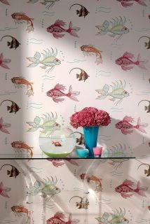 by Nina Campbell  'Aquarium' by Nina Campbell is an underwater wallpaper of fantastical marine life printed in multicoloured jewel tones  extra large roll that offers exceptional value  click here if you wish to order samples  pattern repeat 27 in roll 27 in wide, 33 ft long coverage 75 sq. ft.
