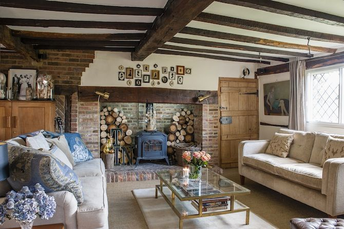 English cottage living room with inglenook