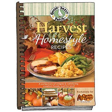 Harvest Homestyle Recipes Cookbook. Made exclusively for Cracker Barrel Old Country Store®,  all of your seasonal favorites are in this amazing collection. Full-color watercolor artwork and a mouthwatering photo for practically every recipe too. Gooseberry Patch and Cracker Barrel? It's a match made in heaven!
