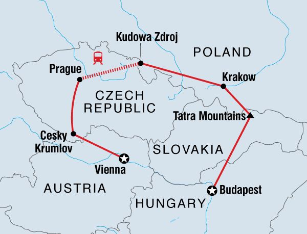 The Best of Central Europe tour combines popular sights with unique experiences while travelling through Austria, Slovakia, Poland, Hungary and the Czech Republic.