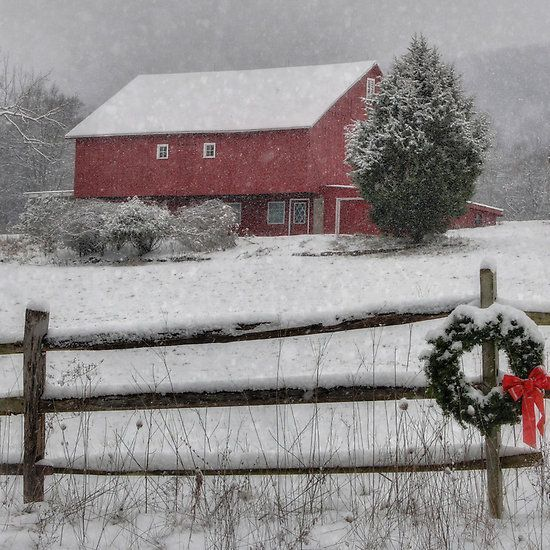 Beautiful red barn in snow