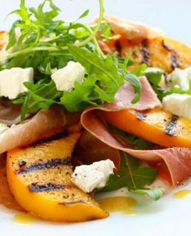 Grilled Peach, Feta Cheese, Arugula, and Dandelion Green Salad | Reci ...