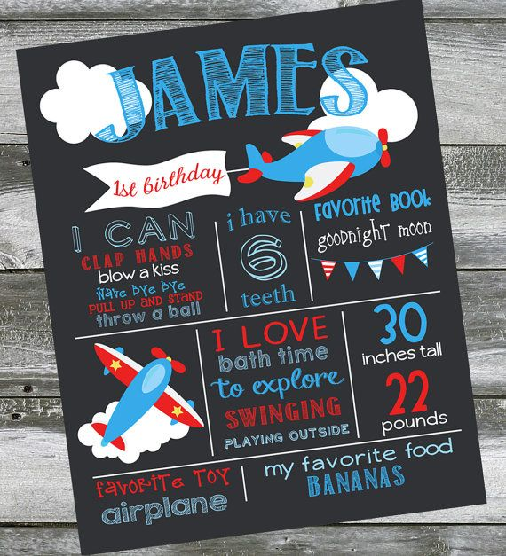 First Birthday Chalkboard Poster Sign Airplane - Printable - Digital File JPG - Baby's First Birthday