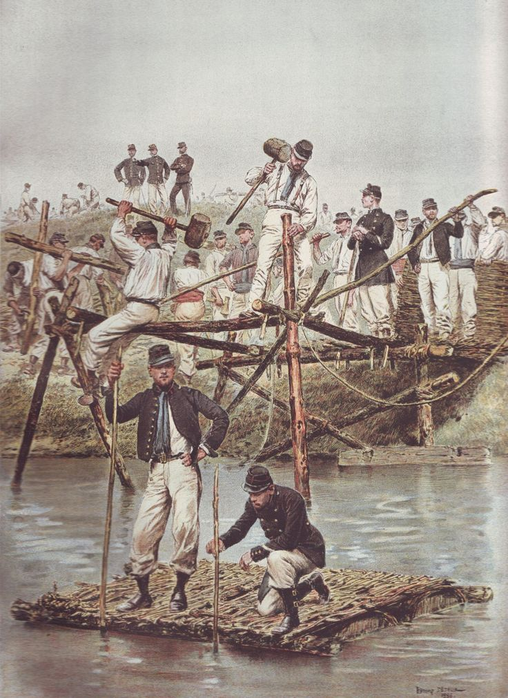 French Army 1900 Sapeurs building a bridge by Édouard Detaille