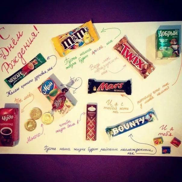 День рождения, прикольные картинки с шоколадками и надписями своими руками