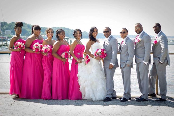Bridal Party Poses Beach Wedding Fuchsia Got Pink Gray Groomsmen Bridesmaids