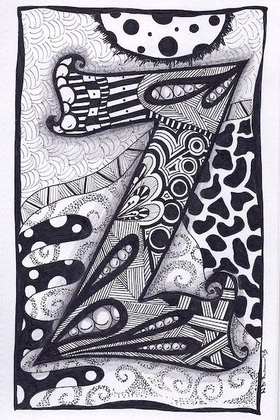 Items similar to Zentangle, Letter Z, Zebra Letters, name, bunting, alphabet on Etsy