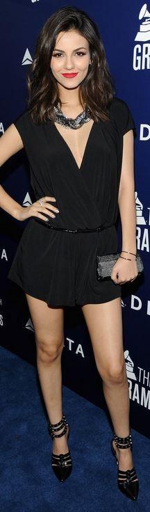 Victoria Justice's black romper, gray handbag, pumps, and jewelry fashion id