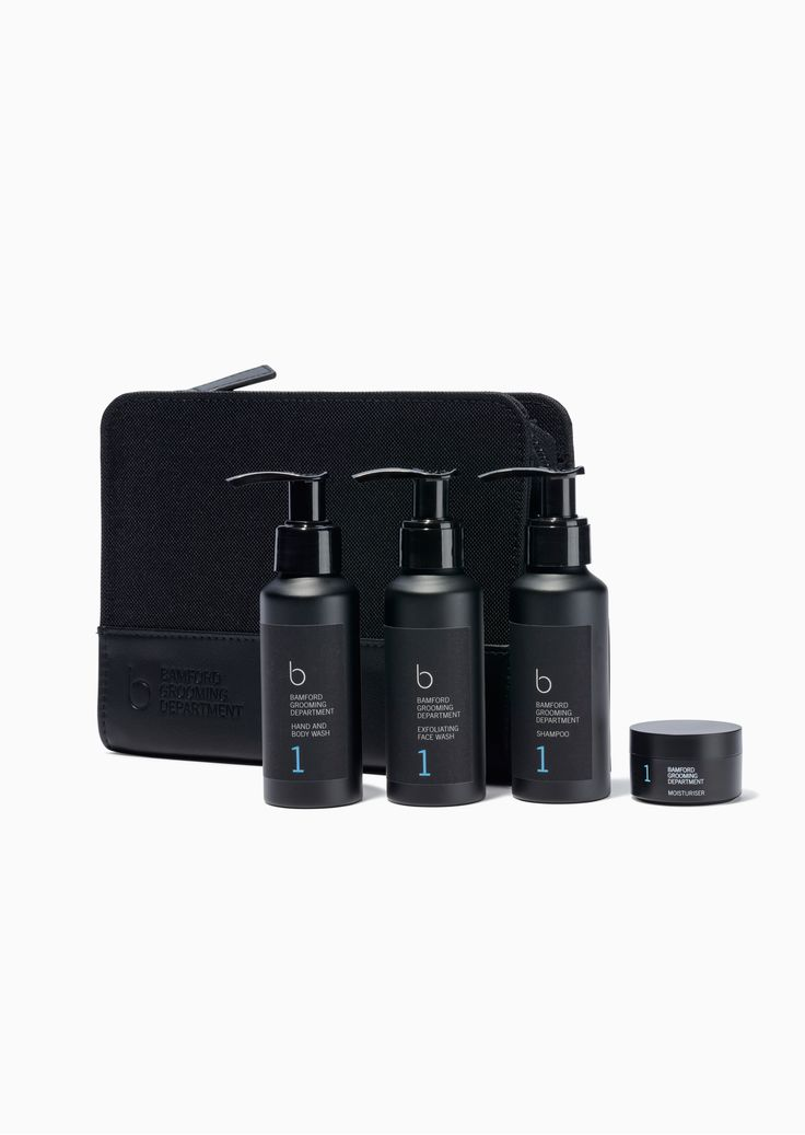 Bamford Grooming Department Perfect travel kit - BGD Shampoo 90ml / BGD Hand and Body Wash 90ml / BGD Exfoliating Face Wash 90ml / BGD Moisturiser 15ml