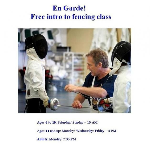 """Try the Olympic sport of fencing! Classes for all ages and abilities, even for parents and grandparents - everyone can fence! Discover the sport called """"physical chess"""" in a warm family like environment, where there are no age barriers, skill barriers, or shyness."""