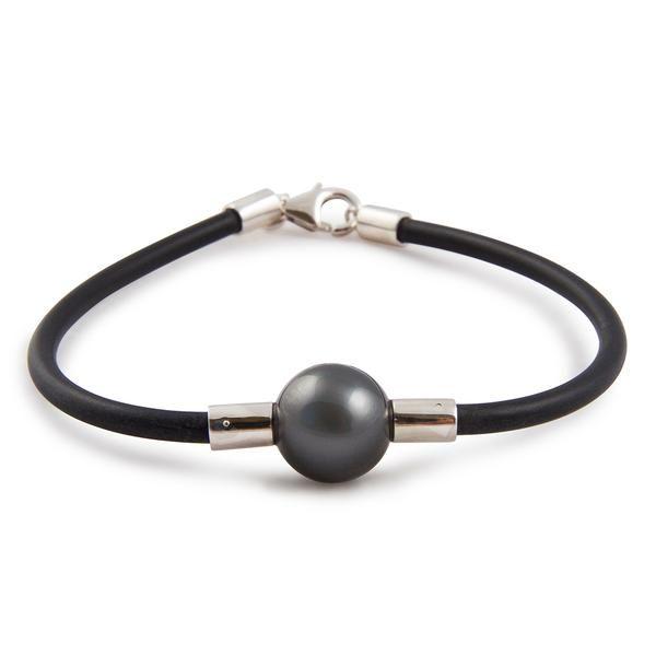 Tahitian Pearl Jewellery - Sterling Silver Tahitian Cultured Black Pearl Neoprene Bracelet