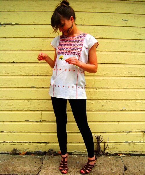Handmade Embroidered  Mexican. Find it at http://www.chiapasbazaar.com/collections/traditional-mexican-blouses/products/oaxaca-blouse-birds-of-a-feather