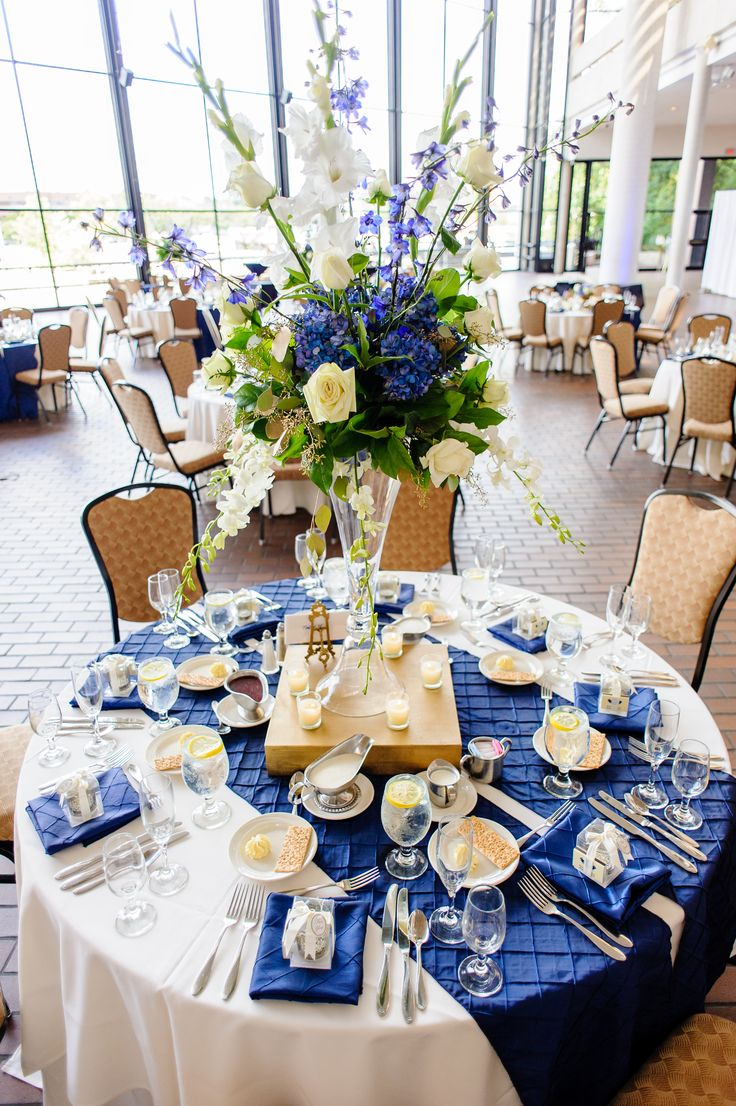 royal blue and silver wedding centerpieces%0A Wedding reception at Great Hall  Century Center Convention Center  South  Bend  IN  near Notre Dame  Photo by Katie Whitcomb  blue