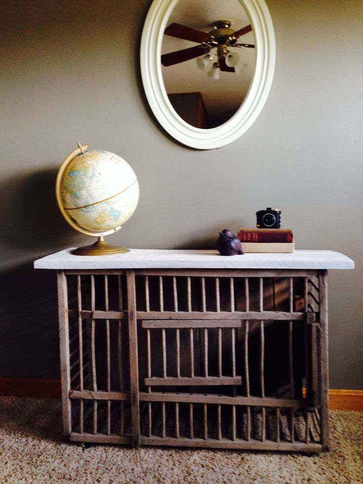 Table I made from an old chicken crate.