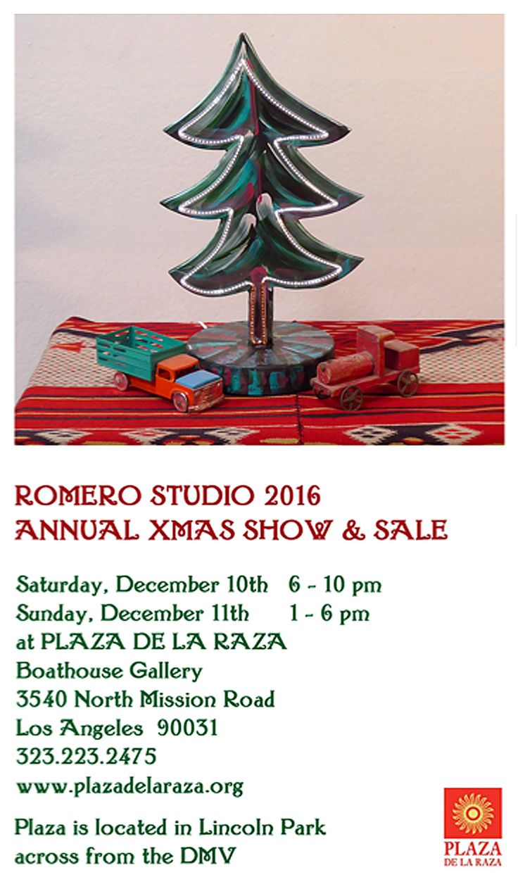 Artist Frank Romero hosts his 35th Annual Christmas Show&Sale at Plaza de la Raza's historic Boathouse Gallery in East Los Angeles.