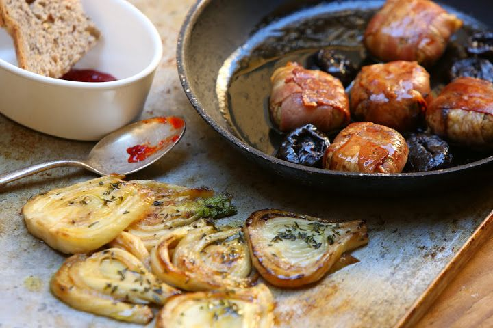 Meatballs with Bacon and California Prunes, Grilled Fennel