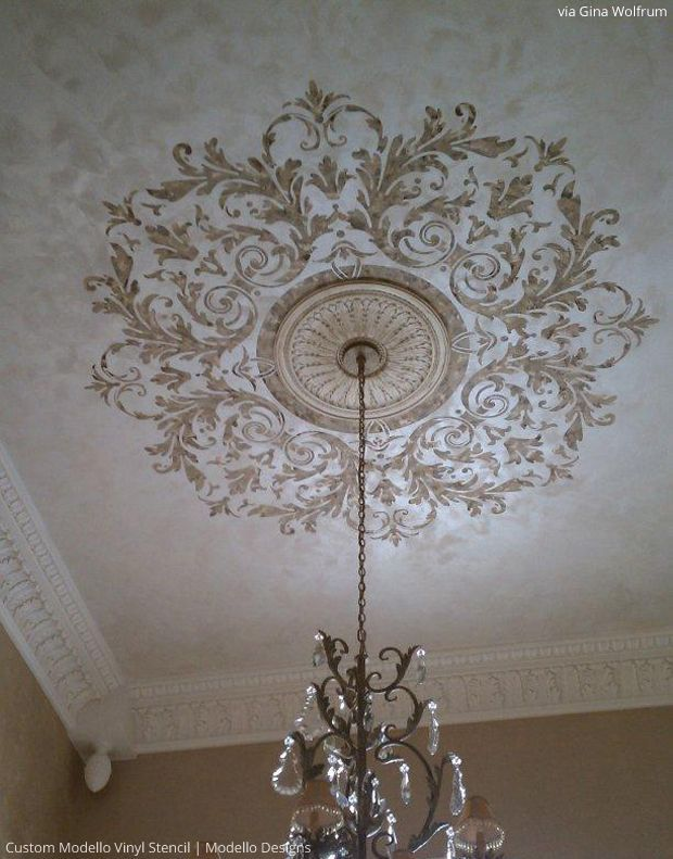 Stenciled Ceiling by Gina Wolfrum using custom Modello by Modello Designs | Paint + Pattern: