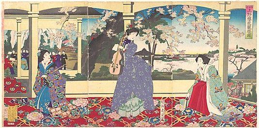 Enjoying Cherry Blossom Viewing at Ueno  Toyohara Chikanobu