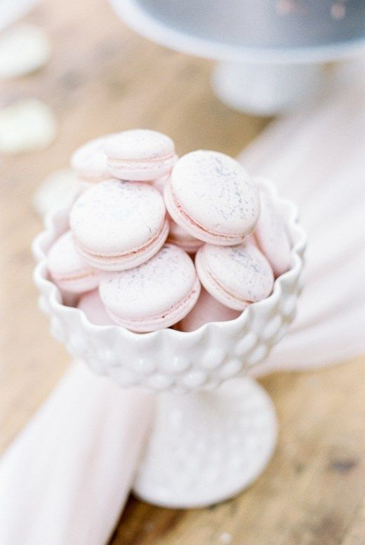 Blush macarons flecked with silver - Luxury Dillington House wedding photography shot on old-fashioned film.