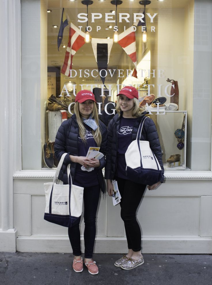 Promotional girls outside the Sperry Top-Sider Store - Thursday 13 March 2014.