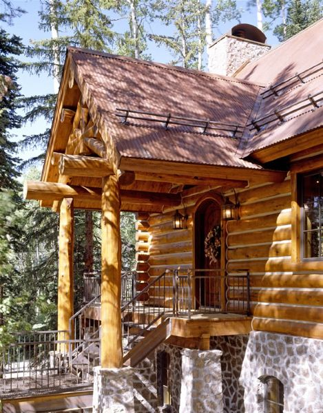 156 best images about log homes log siding on pinterest for Stone log cabin