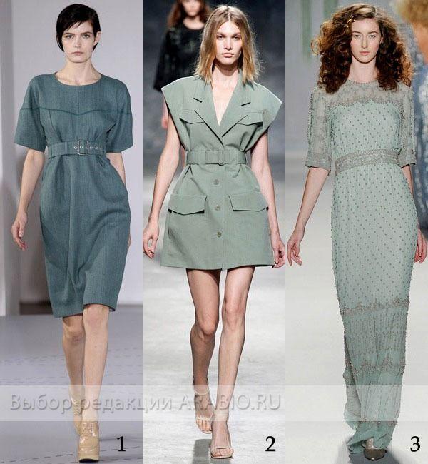 Мода весна-лето 2014. Модный серо-зеленый цвет.