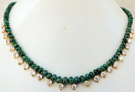 22ct gold & emerald gemstone beads necklace by TRIBALEXPORT, $1799.00
