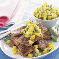 ... more firecracker pork chops with fresh pineapple kiwi salsa gojee com