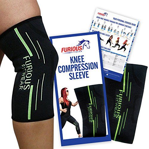 Furious Fitwear Knee Compression Sleeve for Running, Basketball, Weightlifting, Squats, Muscle Pain Recovery & Arthritis Support - 3-in-1 (Braces, Sleeves & Wraps) Benefits for Men & Women - Single *** Find out more about the great product at the image link.
