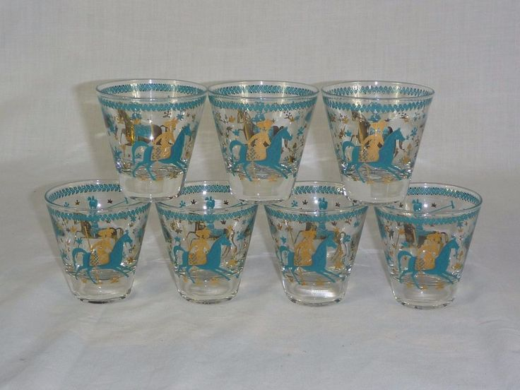 7 Vtg Mid Century Tapered Bar Glasses Asian Exotic Polo Horses Turquoise Gold