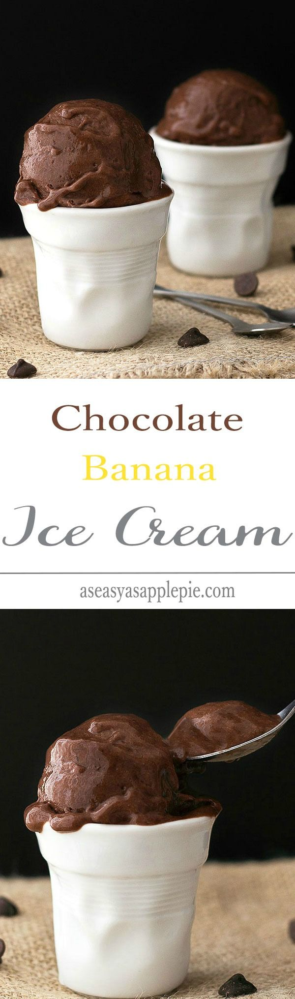Paleo Chocolate Banana Ice Cream - just two ingredients and a blender needed to make this healthy, creamy treat. No cream, no milk, no refined sugar! A vegan, vegetarian and paleo soft serve dessert!