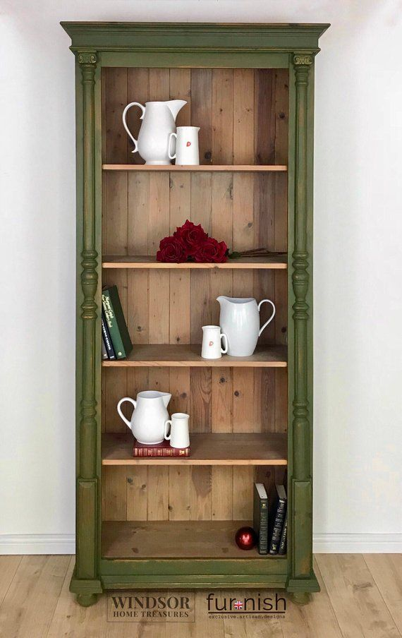 Large Bookcase Tall Bookcase Pine Bookcase Book Storage Painted Bookcase Green Bookcase White Washed Pine Pine Bookcase Large Bookcase Painting Bookcase