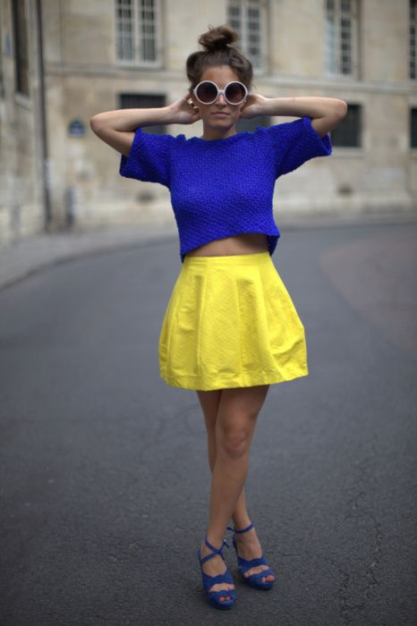 blue + yellow: Fashion, Style, Clothes, Color, Dress, Outfit, Black White, Crop Top