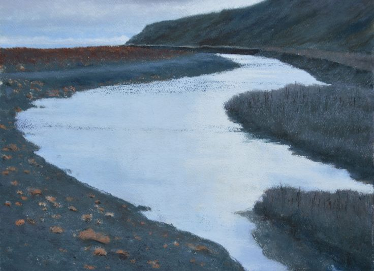 Pastel and watercolour by Steve Empson.  There is still evidence of the old colliery waste where Castle Eden Burn meets the North Sea.