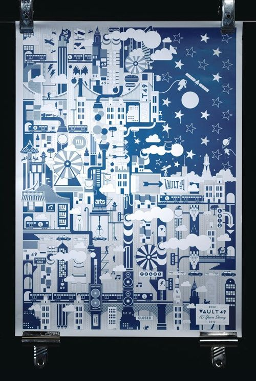 NYC poster, using metallic inks and PMS spot colors. by Vault 49