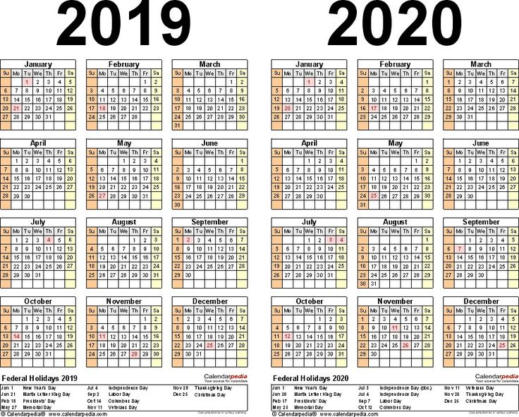2020 Calendar with Federal Holidays Printable Pleasant